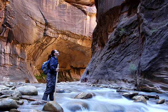 Hiking in the Zion Narrows