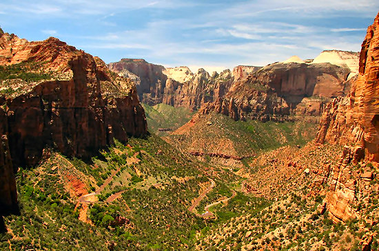 Looking down at the twisties in Zion Canyon