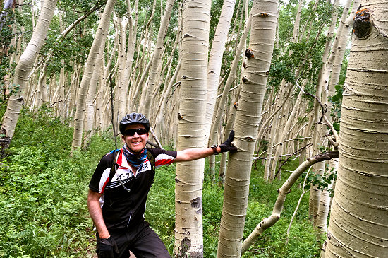 Enjoying the singletrack through the aspen trees