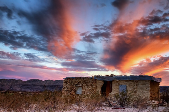 Sunset over the Terlingua ghost town