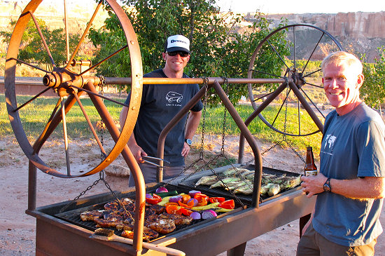 A BBQ feast at the end of a great day of riding Trans Utah Hayduke Trail