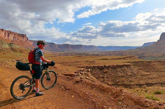 Taking a break on Day 11 to admire the view Trans Utah Hayduke Trail