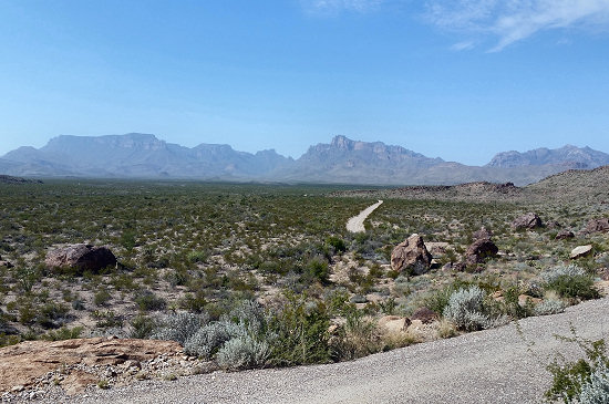 View of the Chisos Mountains from Black Gap Road