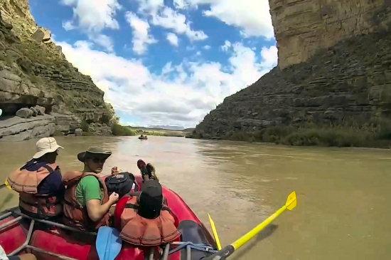 Rafting through the confines of Santa Elena Canyon on the Rio Grance