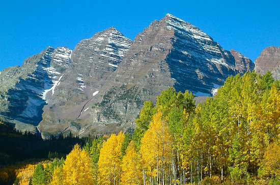 View of the Maroon Bells: Maroon Peak and North Maroon Peak.
