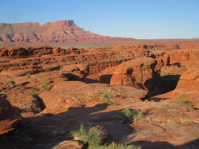 View of the red rocks on the morning of Day 12