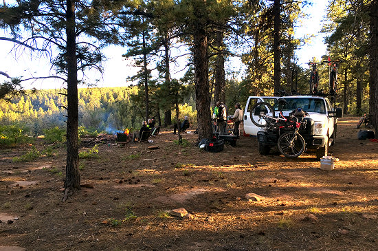 Setting up camp at Elk Ridge