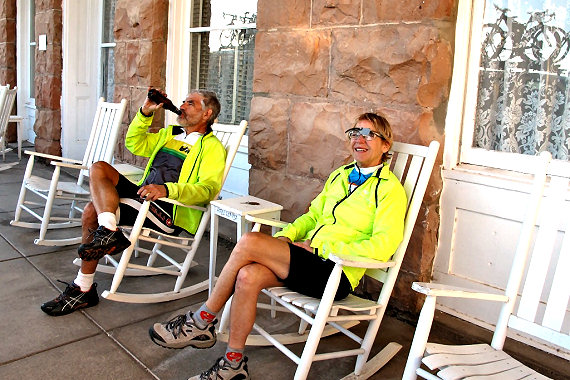 Post ride relaxation on the Hotel Limpia front porch