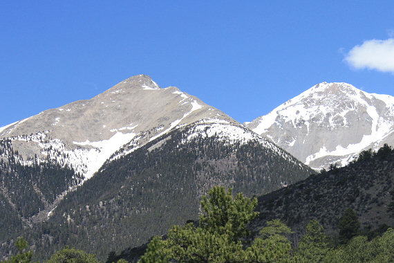 Mascot Peak and Mount Yale from the Cottonwood Pass road