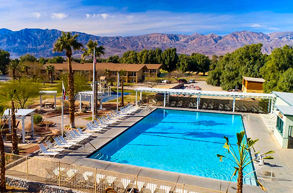The spring water fed pool at Furnace Creek