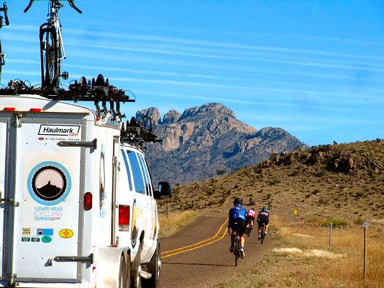 Riding towards the Sawtooth Mountains