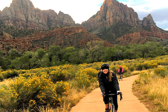 Morning ride into Zion Canyon