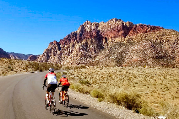 Riding through Red Rock Canyon
