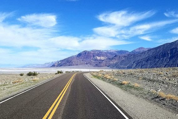 Along Badwater Road heading towards Badwater Basin