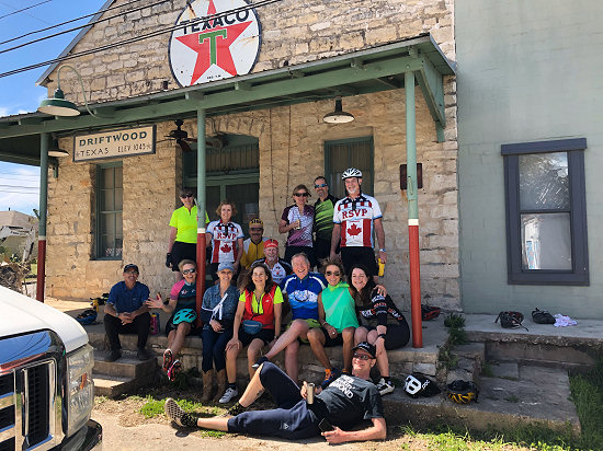 End of ride at the historic old gas station on Driftwood, Texas
