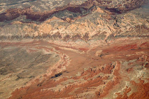 Aerial view of the San Rafael Desert and Goblin Valley